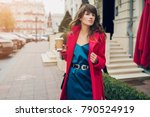 stylish woman in red coat... | Shutterstock . vector #790524919