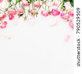 Floral Frame Of Pink Roses And...