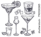 Alcoholic drinks set. Margarita, whiskey, tequila, vodka and vermouth in glasses, ice, olives, mint, lemon. Isolated on white background. Black and white. Vintage. Hand drawing. Vector illustration. | Shutterstock vector #790530385