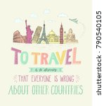 world travel and sights.... | Shutterstock .eps vector #790540105