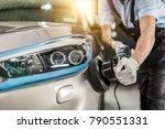 car detailing   man holds a... | Shutterstock . vector #790551331