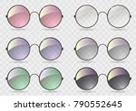 set of round glasses with... | Shutterstock .eps vector #790552645