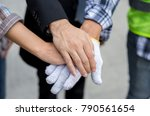 engineers are joining hands... | Shutterstock . vector #790561654