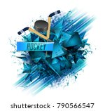 hockey  crossed hockey sticks... | Shutterstock .eps vector #790566547
