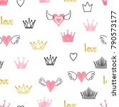 seamess pattern with doodle... | Shutterstock .eps vector #790573177