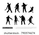 set of black silhouettes of... | Shutterstock .eps vector #790574674