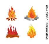 set of different bonfires with... | Shutterstock .eps vector #790574905