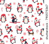 Stock vector seamless pattern with penguins cute penguin cartoon illustration christmas animals pattern 790575367