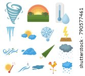 different weather cartoon icons ... | Shutterstock .eps vector #790577461