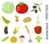 different kinds of vegetables... | Shutterstock .eps vector #790577641