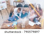 in a large bright office are... | Shutterstock . vector #790579897
