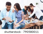young man and woman working... | Shutterstock . vector #790580011