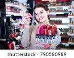 smiling female customer... | Shutterstock . vector #790580989