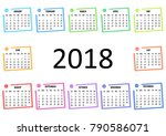 colorful calendar 2018 ... | Shutterstock . vector #790586071