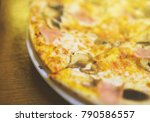 crispy hot pizza with ham and... | Shutterstock . vector #790586557