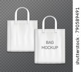 white realistic shoping bag... | Shutterstock .eps vector #790589491