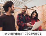 a guy with a beard is showing... | Shutterstock . vector #790590571