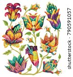 beautiful vector floral pattern ... | Shutterstock .eps vector #790591057