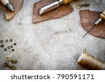 leather craft tools on grey... | Shutterstock . vector #790591171
