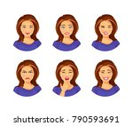 set of young woman with... | Shutterstock .eps vector #790593691