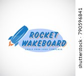 rocket wake board abstract... | Shutterstock . vector #790596841