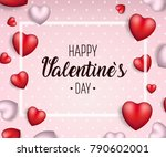 valentine's day background with ... | Shutterstock .eps vector #790602001