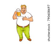 funny smiling fat  chubby man... | Shutterstock .eps vector #790608697