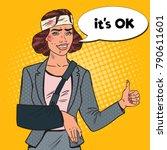 pop art beaten business woman... | Shutterstock .eps vector #790611601