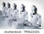 3d rendering humanoid robots... | Shutterstock . vector #790622101