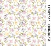 rose seamless pattern  flower... | Shutterstock .eps vector #790625161