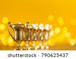 gold award trophy against... | Shutterstock . vector #790625437