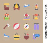 icon set about beach and... | Shutterstock .eps vector #790625845