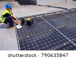 photovoltaic skilled worker... | Shutterstock . vector #790635847