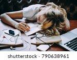 a tired teenage girl sleeping... | Shutterstock . vector #790638961
