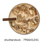 iced coffee or latte with straw ... | Shutterstock . vector #790641241