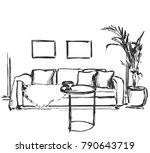 sofa and table on white... | Shutterstock .eps vector #790643719