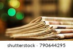 pile of newspapers. folded and... | Shutterstock . vector #790644295