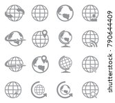 earth globe icons. gray flat... | Shutterstock .eps vector #790644409