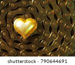 Bright Gold Metal Heart On A...