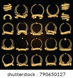 golden laurel wreath with... | Shutterstock .eps vector #790650127