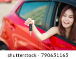 beautiful asian woman with car... | Shutterstock . vector #790651165