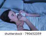 a woman in bed feels sick and... | Shutterstock . vector #790652359