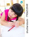 asian child drawing picture... | Shutterstock . vector #790653949