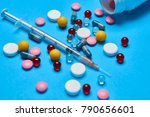 colored tablets  vitamins ... | Shutterstock . vector #790656601