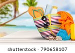 bag   flip flops on a tropical... | Shutterstock . vector #790658107