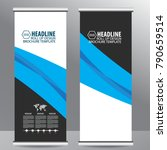 blue roll up business brochure... | Shutterstock .eps vector #790659514