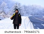 macho in winter clothes with... | Shutterstock . vector #790660171