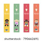set of multicolored bookmarks... | Shutterstock .eps vector #790662691