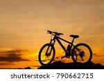 bike on the summit at sunset .... | Shutterstock . vector #790662715