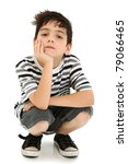 boy with chin resting on hand... | Shutterstock . vector #79066465